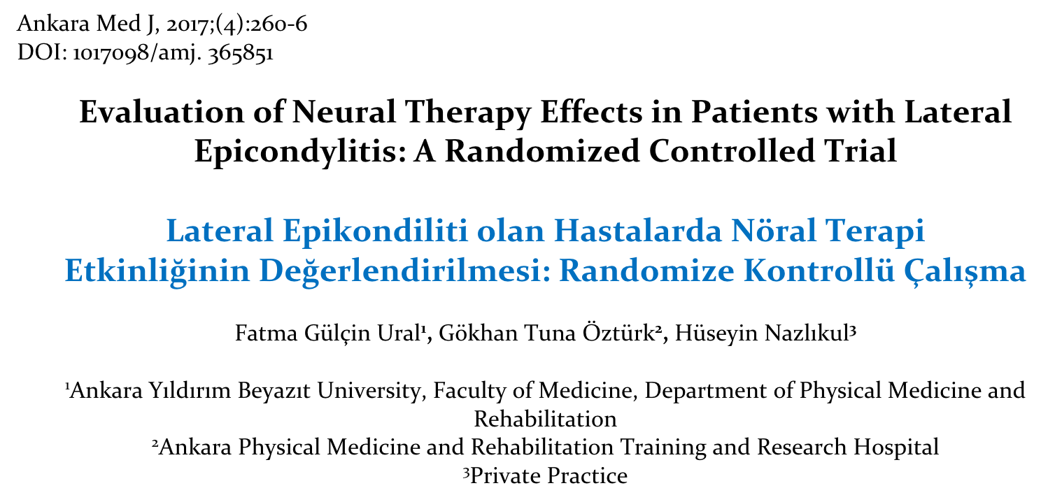 NEURAL THERAPY AND EPICONDYLITIS
