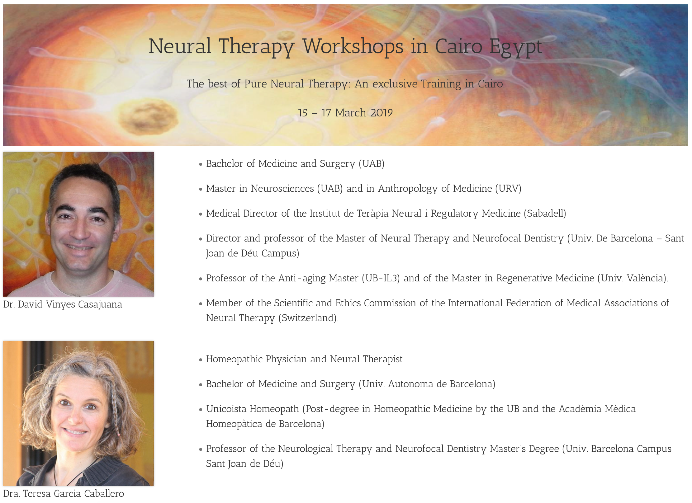 EGYPT NEURAL THERAPY COURSE 2019
